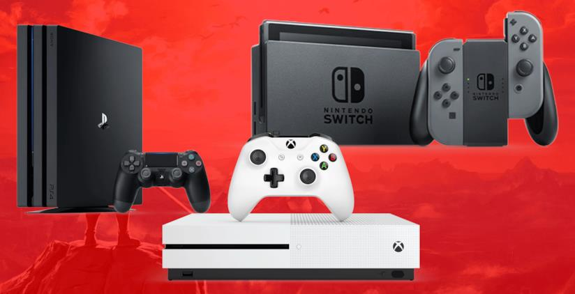 PlayStation 4 Pro (sinistra), Xbox One S (centro) e Nintendo Switch (destra)