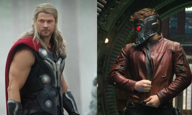 Chris Hemsworth è Thor, Chris Pratt è Peter Quilli a.k.a. Star-Lord