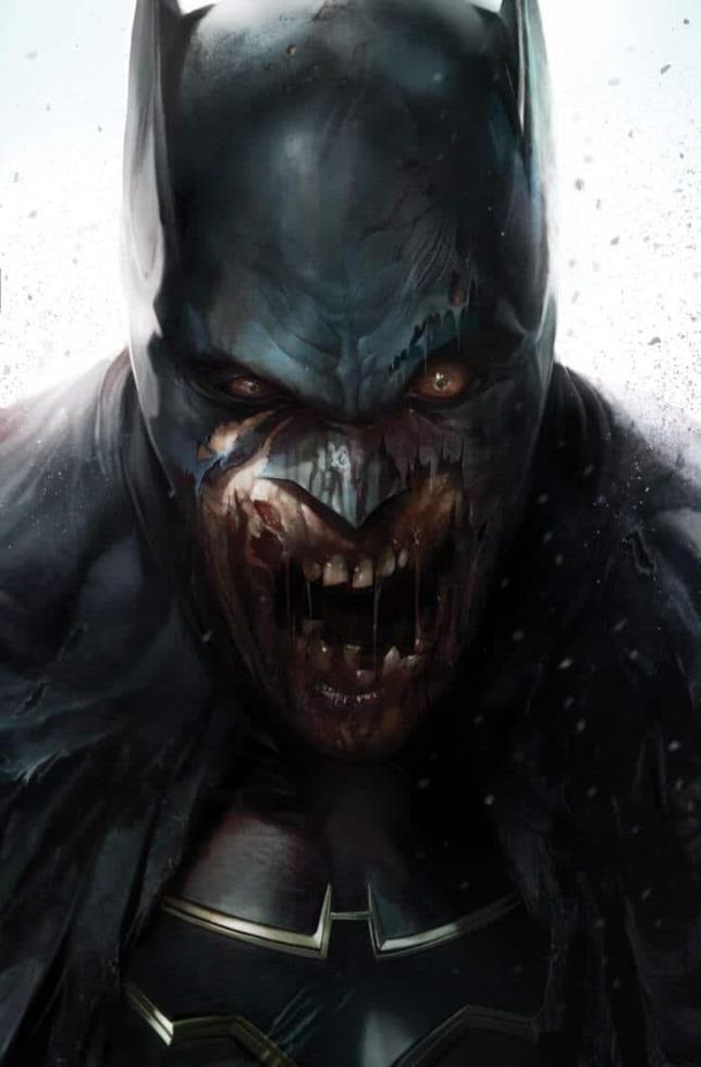 Primo piano di Batman diventato uno zombie, nella variant cover di DCeased disegnata da Francesco Mattina