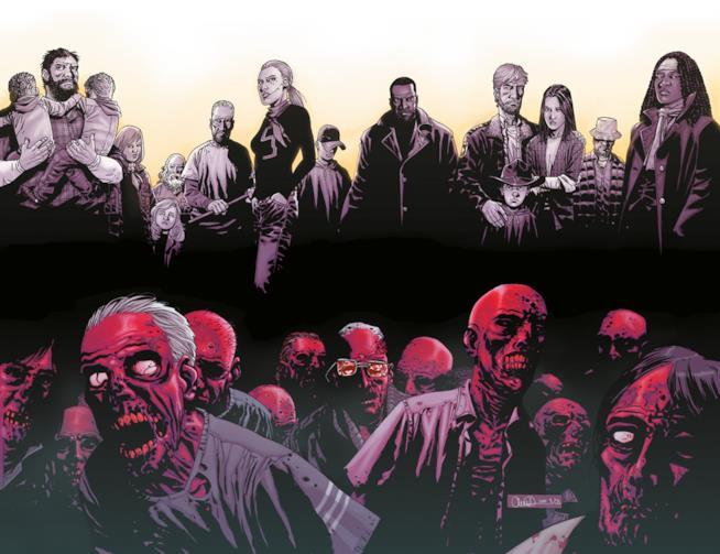 I Sopravvissuti e un branco di Vaganti sulla copertina della scatola di The Walking Dead All Out War