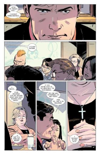 Pagina di Batman #53 in cui Bruce Wayne dichiara di credere in Batman e non in Dio
