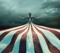 Evan Peters, Sarah Paulson e Ryan Murphy al party per i 100 episodio di American Horror Story