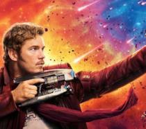 Un primo piano di Chris Pratt nei panni di Star-Lord in un poster di Guardiani della Galassia Vol. 2