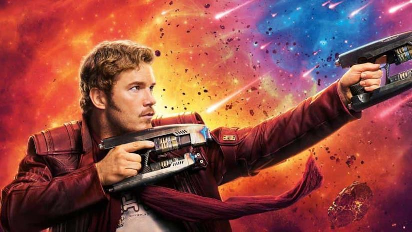 Un primo piano di Chris Pratt nei panni di Star-Lord in un poster di Guardiani della Galassia Vol. 2