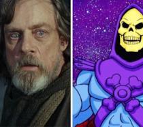 Mark Hamill nella parte di Luke Skywalker e a destra Skeleton dalla serie animata Mattel