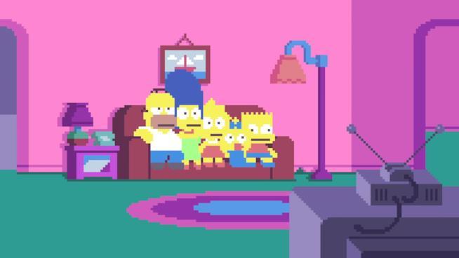 La famiglia Simpson in versione pixelata in uno degli episodi della serie