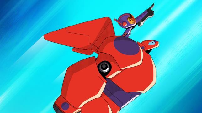 Hiro spicca il volo sulle spalle di Baymax
