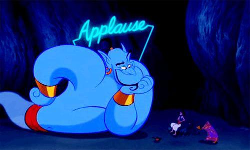 Genio e Aladdin in una scena del film Disney