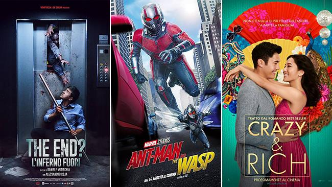 I poster dei film: The End? L'inferno fuori, Ant-Man and the Wasp, Crazy & Rich