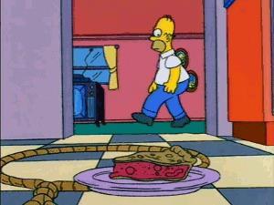 Homer e i pericoli di mangiare la torta trovata sul pavimento
