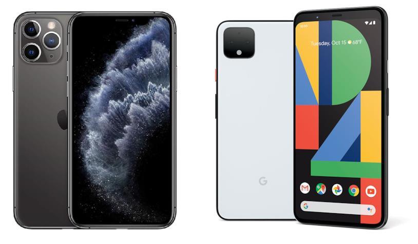 iPhone 11 Pro (sinistra) e Google Pixel 4 (destra)