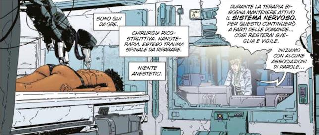 Tavola di Aliens: Defiance, con Zula che si sottopone alle cure