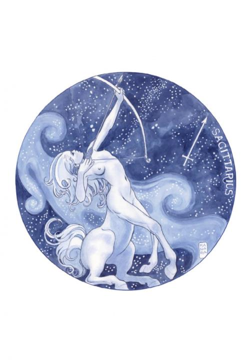 Il segno del Sagittario disegnato da Manara