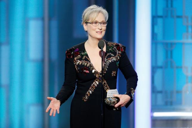 Meryl Streep durante il suo discorso ai Golden Globes 2017