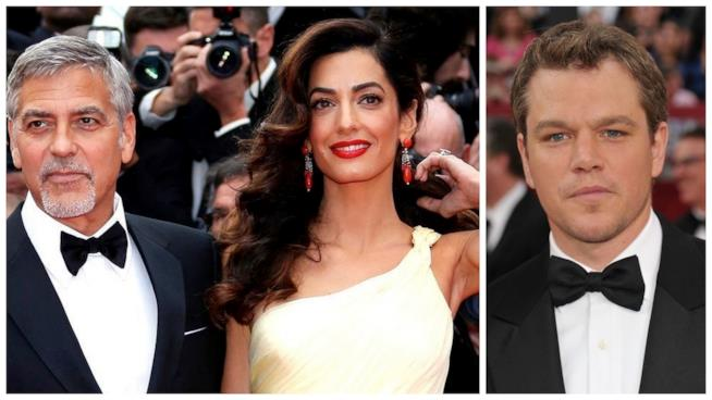 Primo piano di George Clooney, Amal e Matt Damon