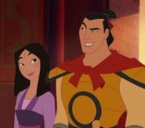 Mulan e Li Shang in una scena del film