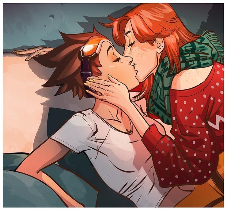 Emily bacia Tracer nel fumetto di Overwatch