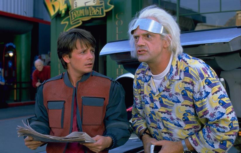Michael J. Fox e Christopher Lloyd in Ritorno al futuro