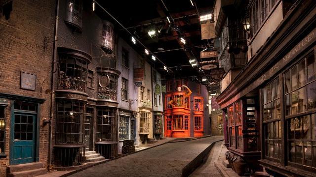 Primo piano di Diagon Alley, Warner Bros. Studios Tour di Londra