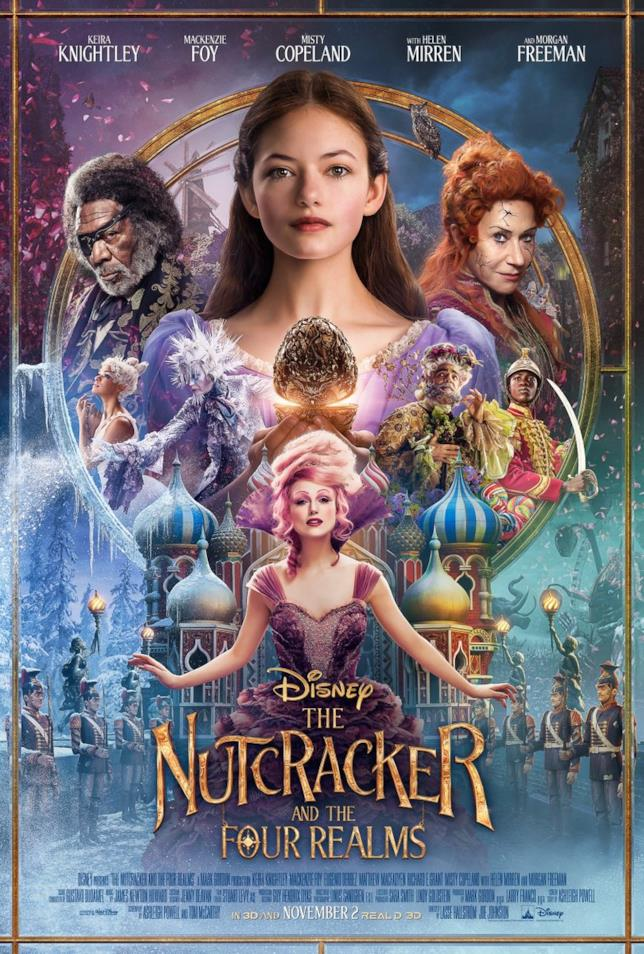 Il poster per Lo Schiaccianoci e i Quattro regni con gli attori