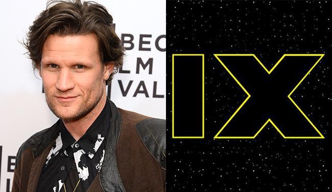 Immagine del logo di Star Wars Episodio IX con l'attore Matt Smith