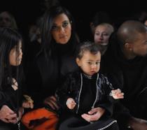Primo piano di Kim Kardashian e North