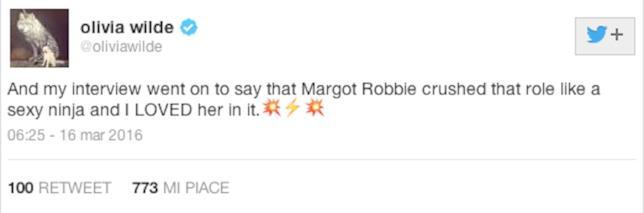 Tweet di Olivia Wilde su Margot Robbie