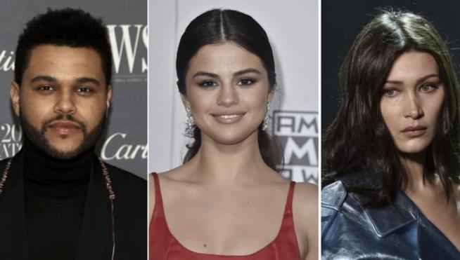Un collage tra Selena Gomez, Bella Hadid e The Weeknd