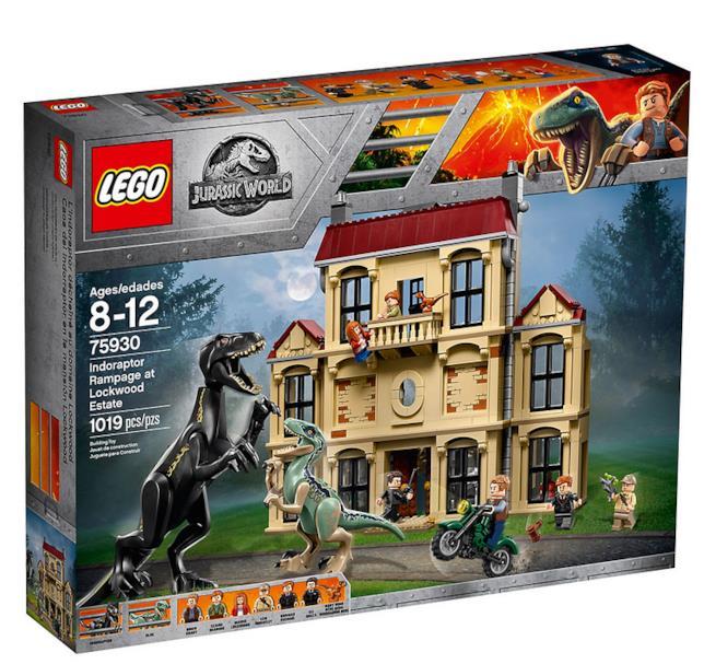 Dettagli del box del set LEGO Attacco dell'Indoraptor al Lockwood Estate