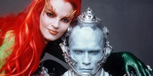 Uma Thurman e Arnold Schwarzenegger nei ruoli di Poison Ivy e Mr. Freeze