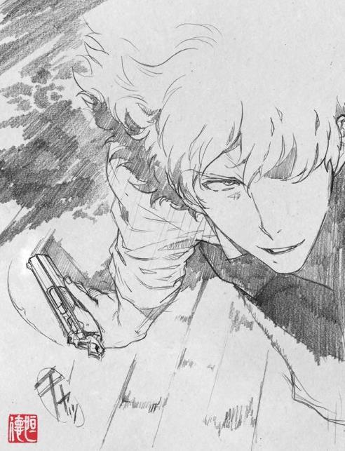 Spike Spiegel con una pistola in uno schizzo di Tsunenori Saito