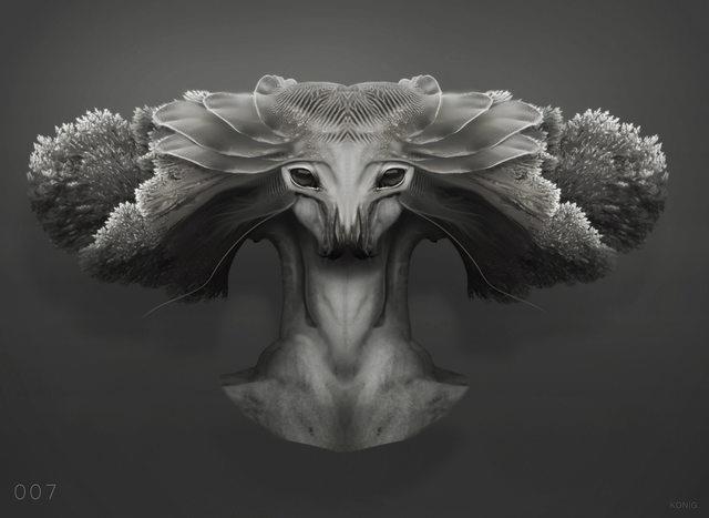 Arrival, nel quarto concept art di Konig è ritratto un il volto misterioso di un alieno.
