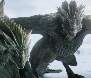Rhaegal e Drogon, due dei draghi di Daenerys Targaryen in Game of Thrones