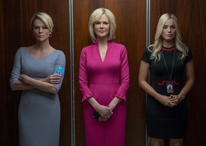 Charlize Theron, Nicole Kidman e Margot Robbie in una scena del film Bombshell