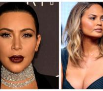 Primo piano di Kim Kardashian e Chrissy Teigen
