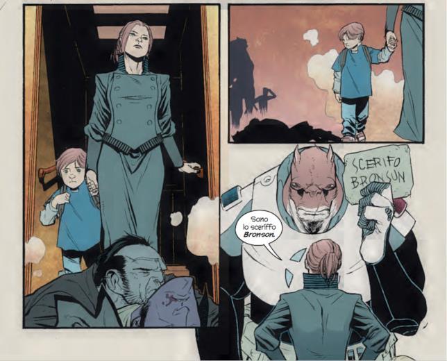 Tavola di Copperhead con il vicesceriffo Boo, lo sceriffo e il piccolo Zeke