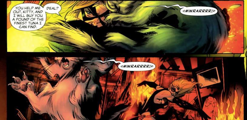Ms. Marvel lancia il gatto contro il suo nemico