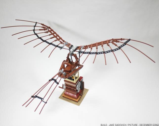 Come appare il set Ornitottero di Leonardo da Vinci di LEGO dall'alto