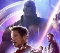 Thanos, Tony Stark, Thor e Star-Lord in Avengers: Infinity War