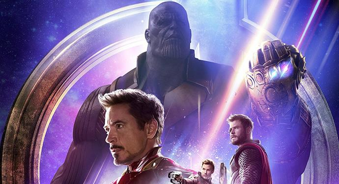 Thanos, Tony Stark, Thor e Star-Lord in Avengers: Infinity War