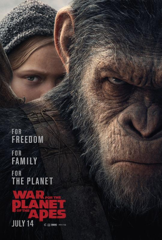 The War - Il Pianeta delle Scimmie, poster con scimmia e umana