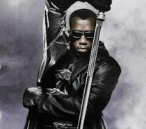 Un primo piano di Wesley Snipes nel poster di Blade II