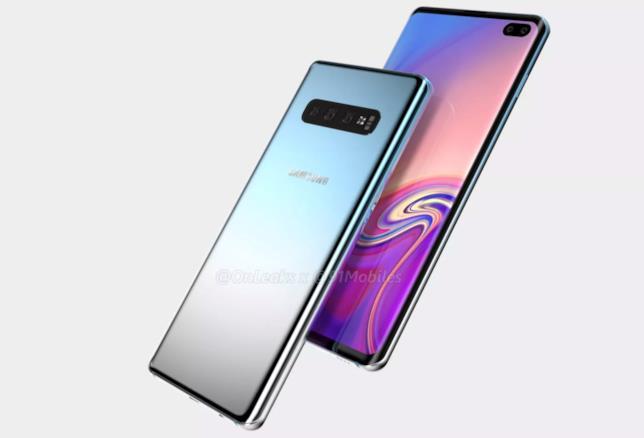 Un render del Samsung Galalxy S10 Plus mostra il fronte e il retro del dispositivo