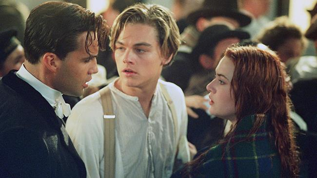 Leonardo DiCaprio, Kate Winslet e Billy Zane in Titanic