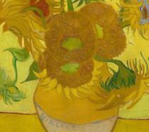 Dettagli del dipinto di Vincent Van Gogh Girasoli esposto al Van Gogh Museum di Amsterdam