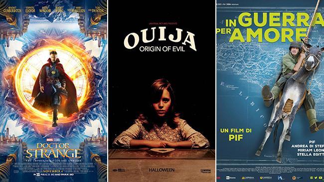 Le locandine di Doctor Strange, Ouija: L'Origine del Male e In Guerra Per Amore