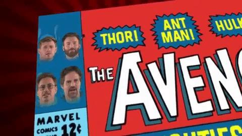 I volti degli attori Robert Downey Jr., Mark Ruffalo, Chris Evans e Chris Hemsworth si trasformano nella loro controparte cartacea Iron Man, Hulk, Capitan America e Thor