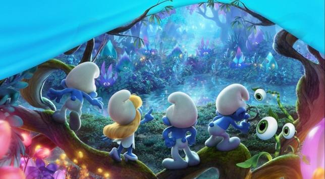 I Puffi scoprono un nuovo mondo in una scena di Viaggio nella Foresta Segreta