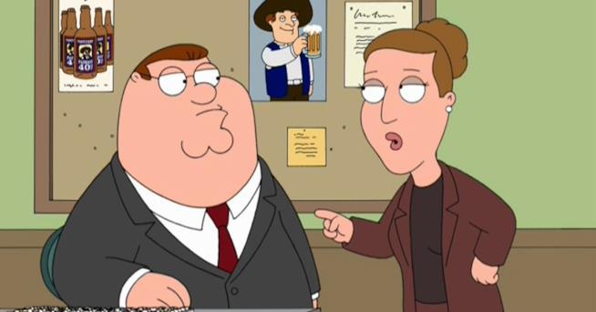 Peter e il suo capo Angela in una scena de I Griffin