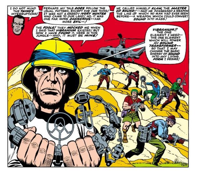 Una vignetta da Fantastic Four #52 con Ulysses Klaw e il Vibranio